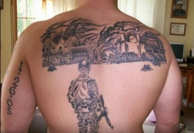 back tattoo permitted by military policy